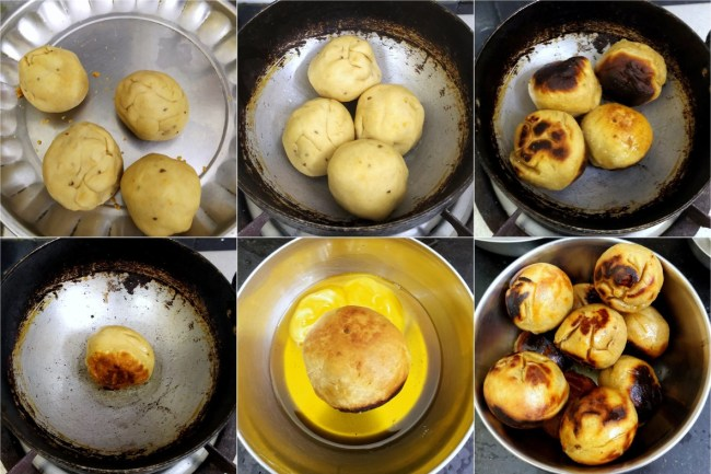 How to make Litti in a Kadai