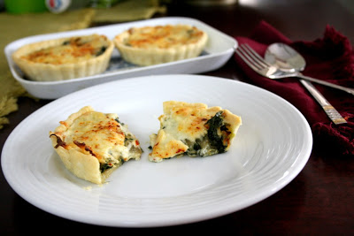 Eggless Spinach, Cheese and Paneer Quiche