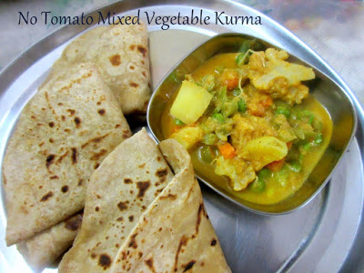 No Tomato Mixed Vegetable Kurma ~ No Tomato Recipes