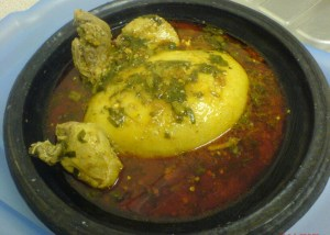 Banku with okro and spinach soup