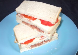 Tomato and corned beef sandwich