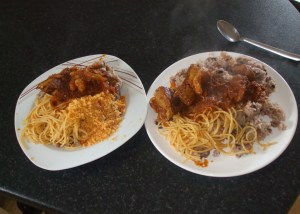 Waakye with gari, tagliatalle and very spicy beef stew