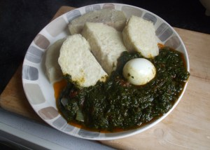 yam with leafy vegetable stew
