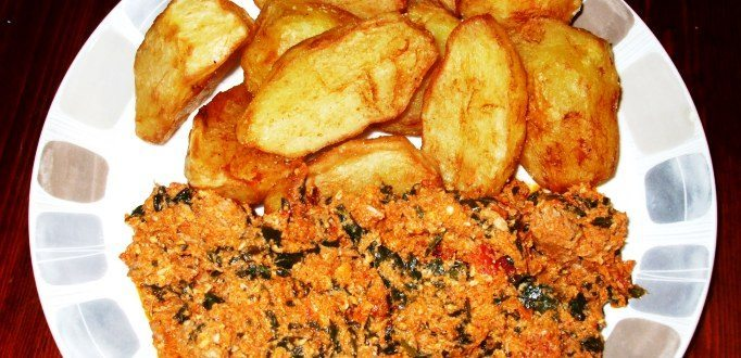 Roast Potatoes with egushi Sauce