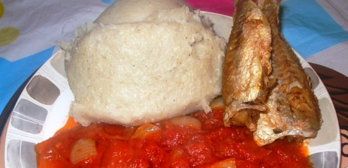 banku, fried red tilapia with spicy tomato gravy 1