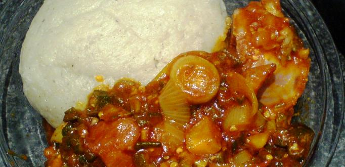 banku with chopped okro stew