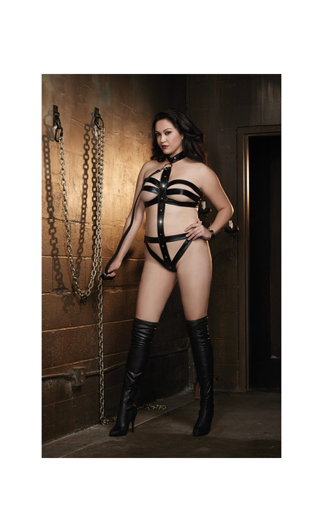 Vinyl Microfiber Strappy Collared Teddy With Leash