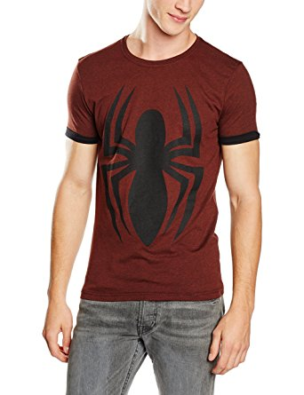 Dark Red Spider-Man T-Shirt with Spider Print