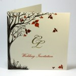 Invitation for Autumn Wedding with gold foil