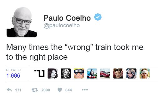 A volte il treno sbagliato mi ha portato nel posto giusto, aforisma di Coelho