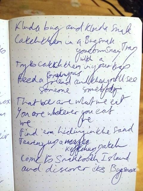 Bugsnax – Kero Kero Bonito's original handwritten lyrics