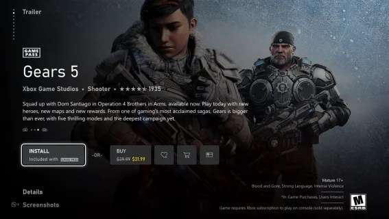 Microsoft Store Game View