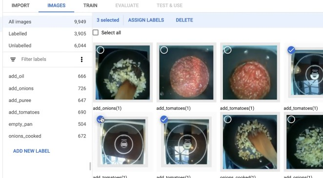 Screenshot of the image classifier of OnionBot robotic sous-chef