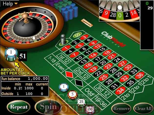 clubworldcasinos Roulettetisch, um online zu spielen