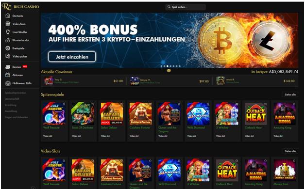 Rich Casino Crypto Bonus zum Spielen von Slots