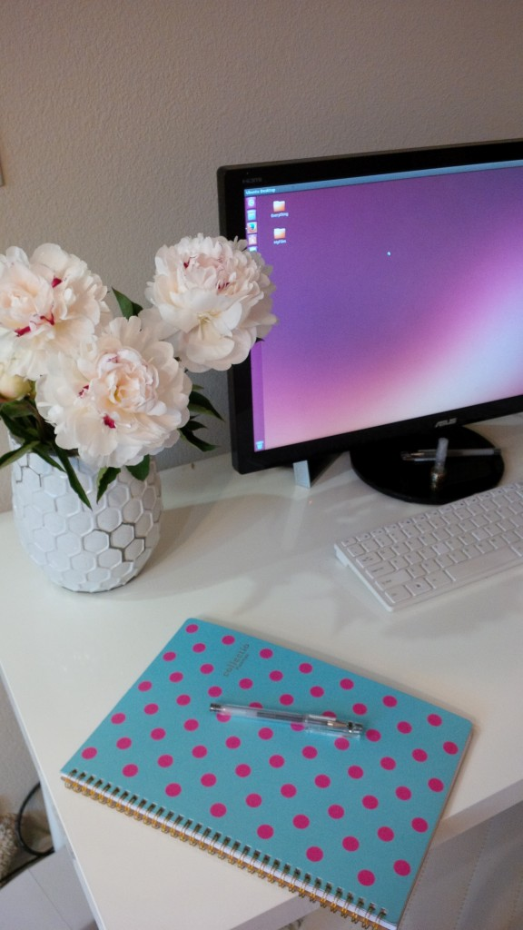 peonies on my desk