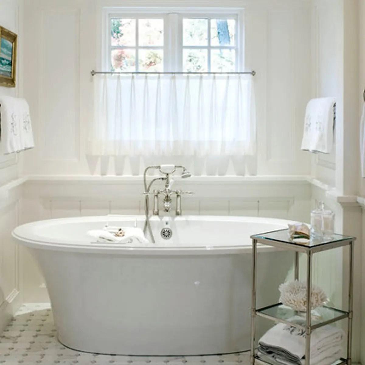 White Sheer Bathroom Custom Curtains