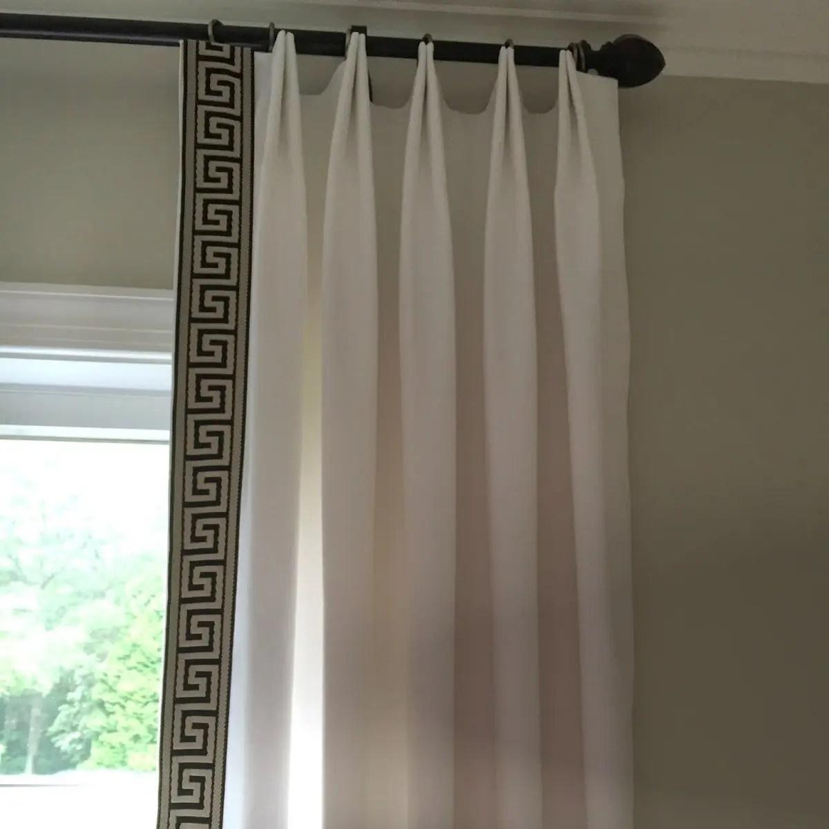 White Euro Triple Pinch Ribbon Trim Custom Curtains