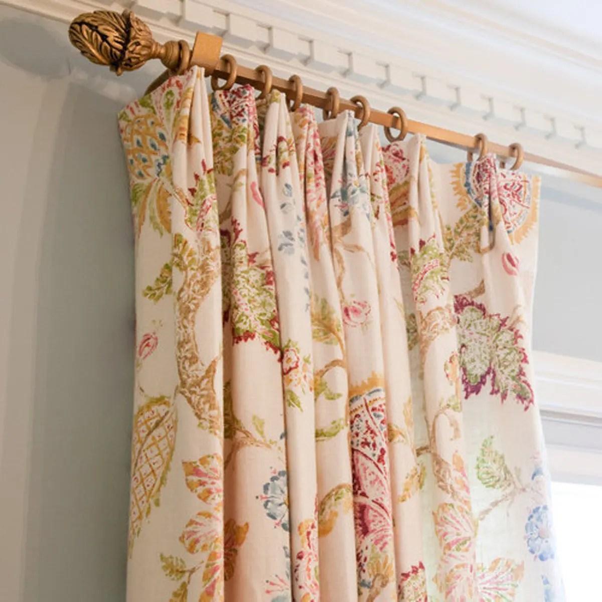 Floral Euro Triple Pinch Custom Curtains
