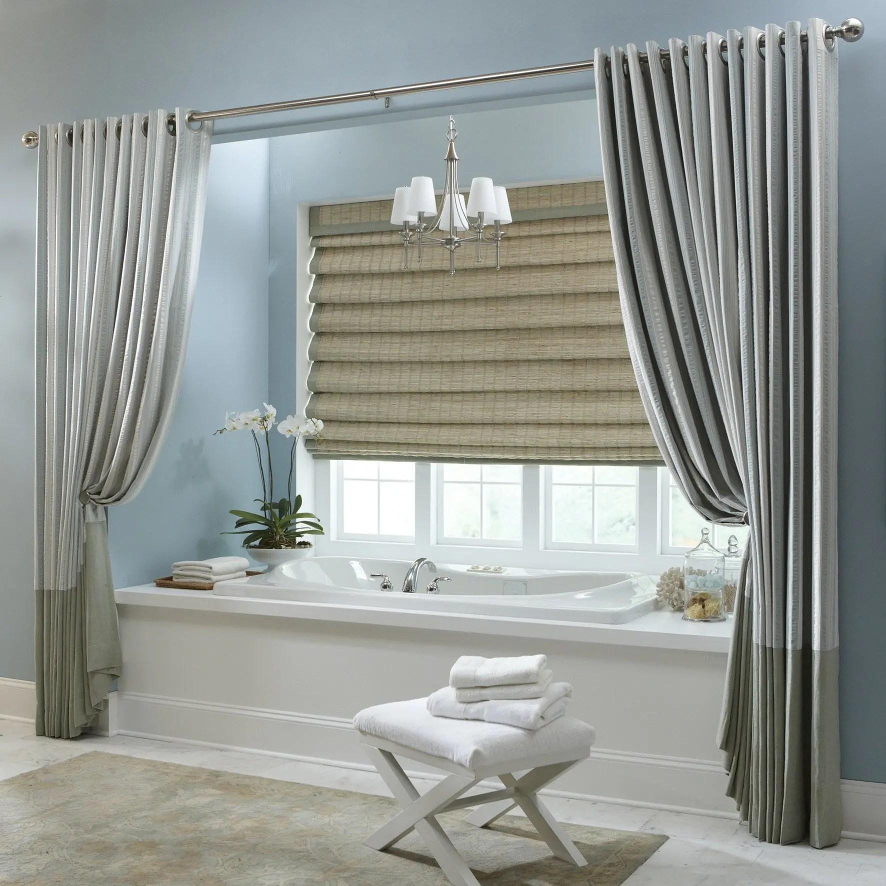Plain Bathroom Custom Shade & Curtains