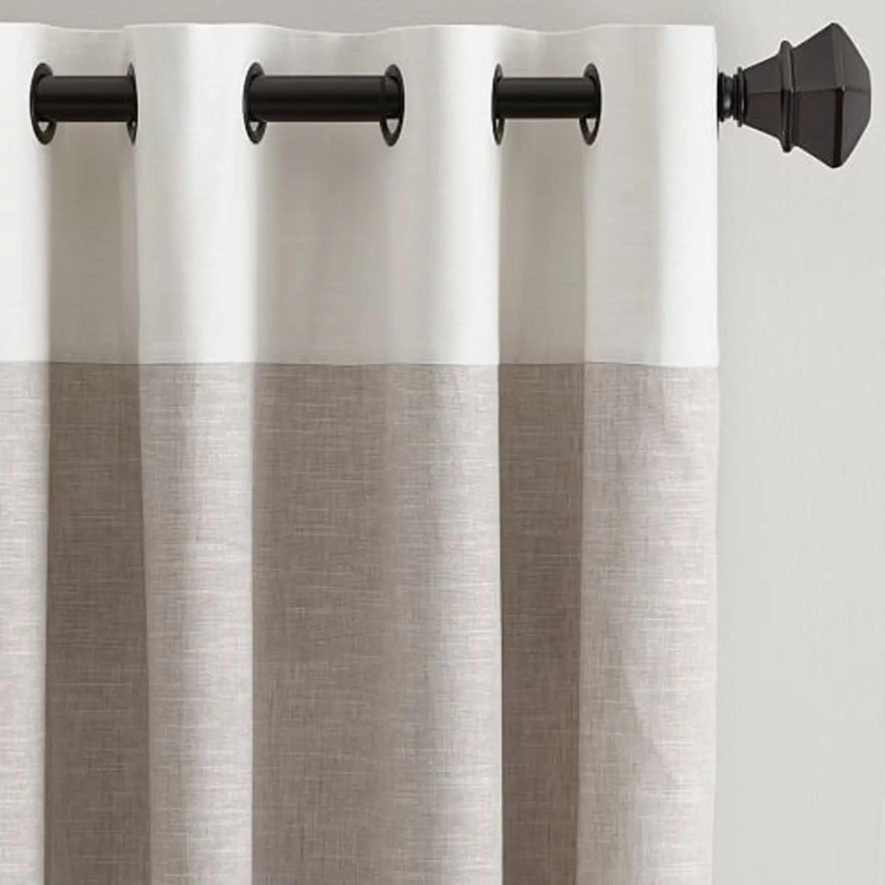 White & Beige Plain Custom Curtain
