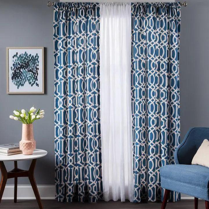 Navy & White Living Room Custom Curtains