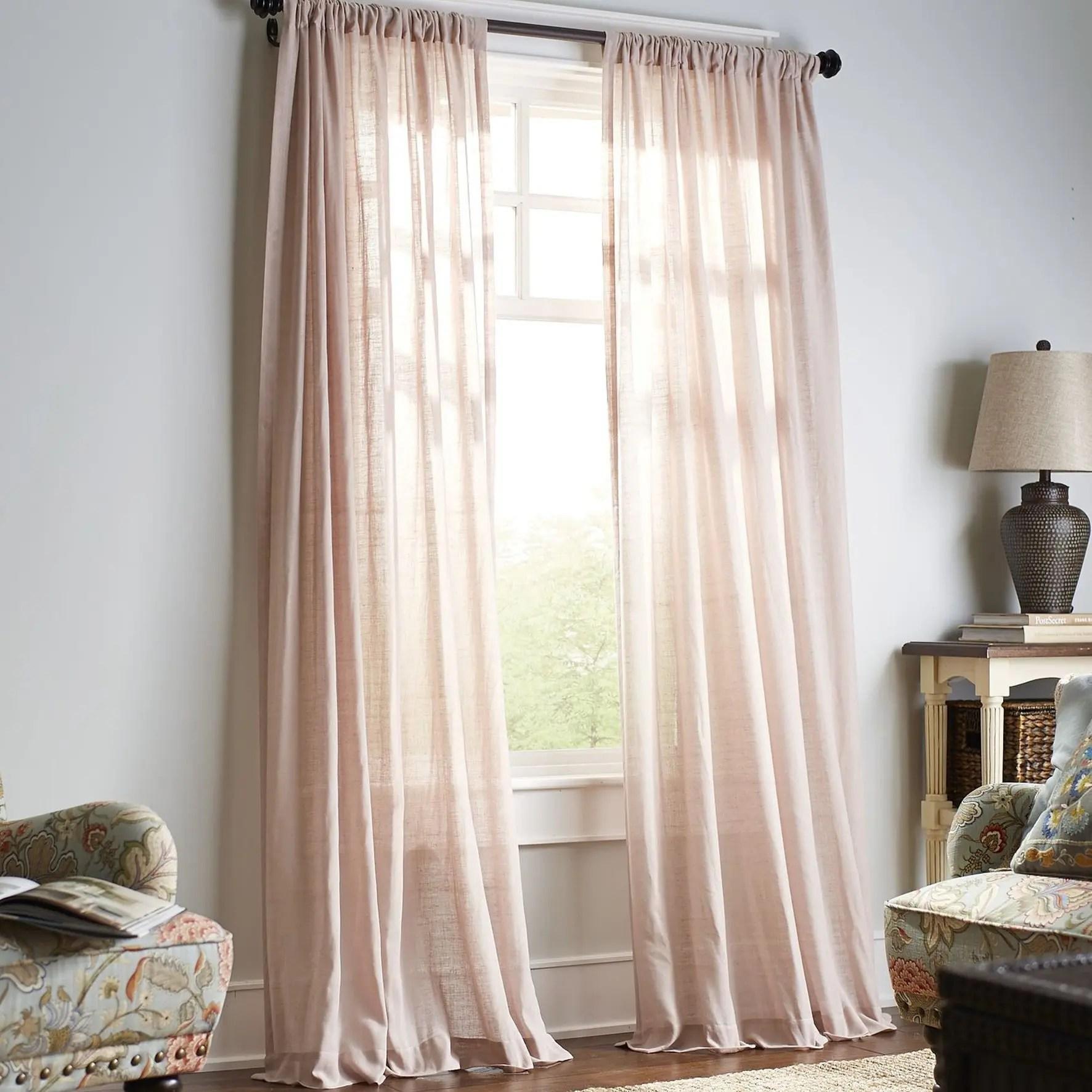 Beige Sheer Rod Pocket Curtains