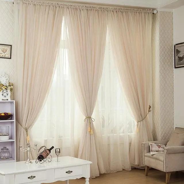 Beige & White Sheer Custom Curtains