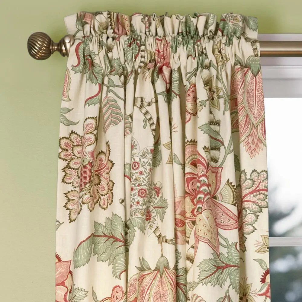 Floral Sheer Rod POcket Custom Curtains