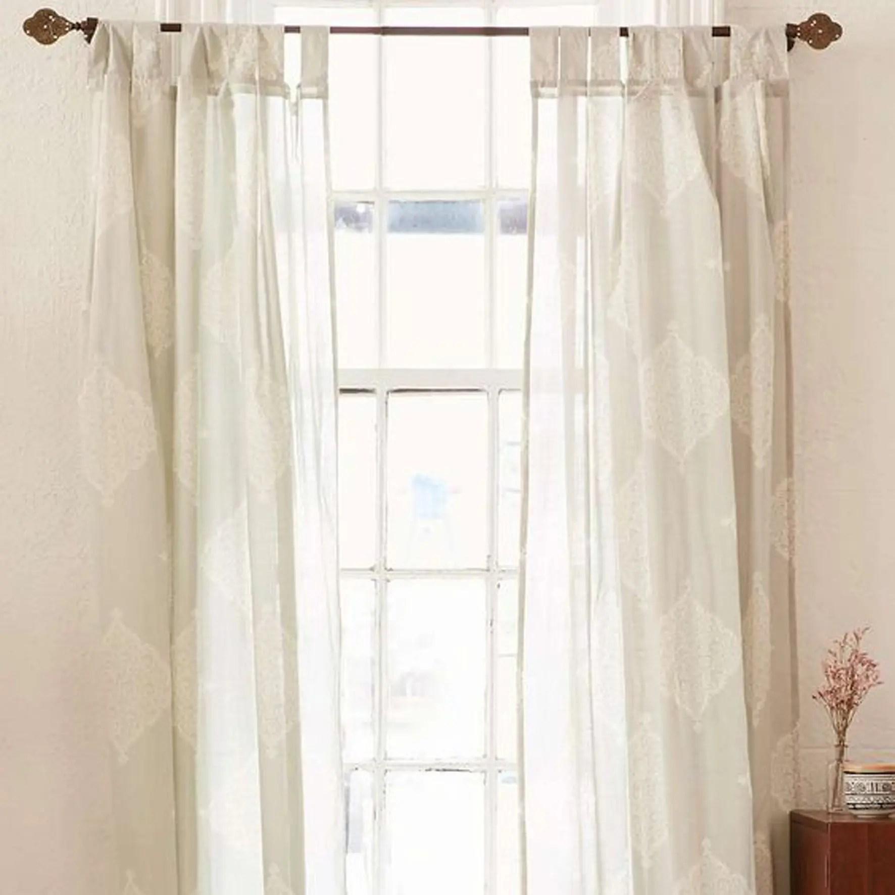 White Sheer Tie Top Custom Curtains