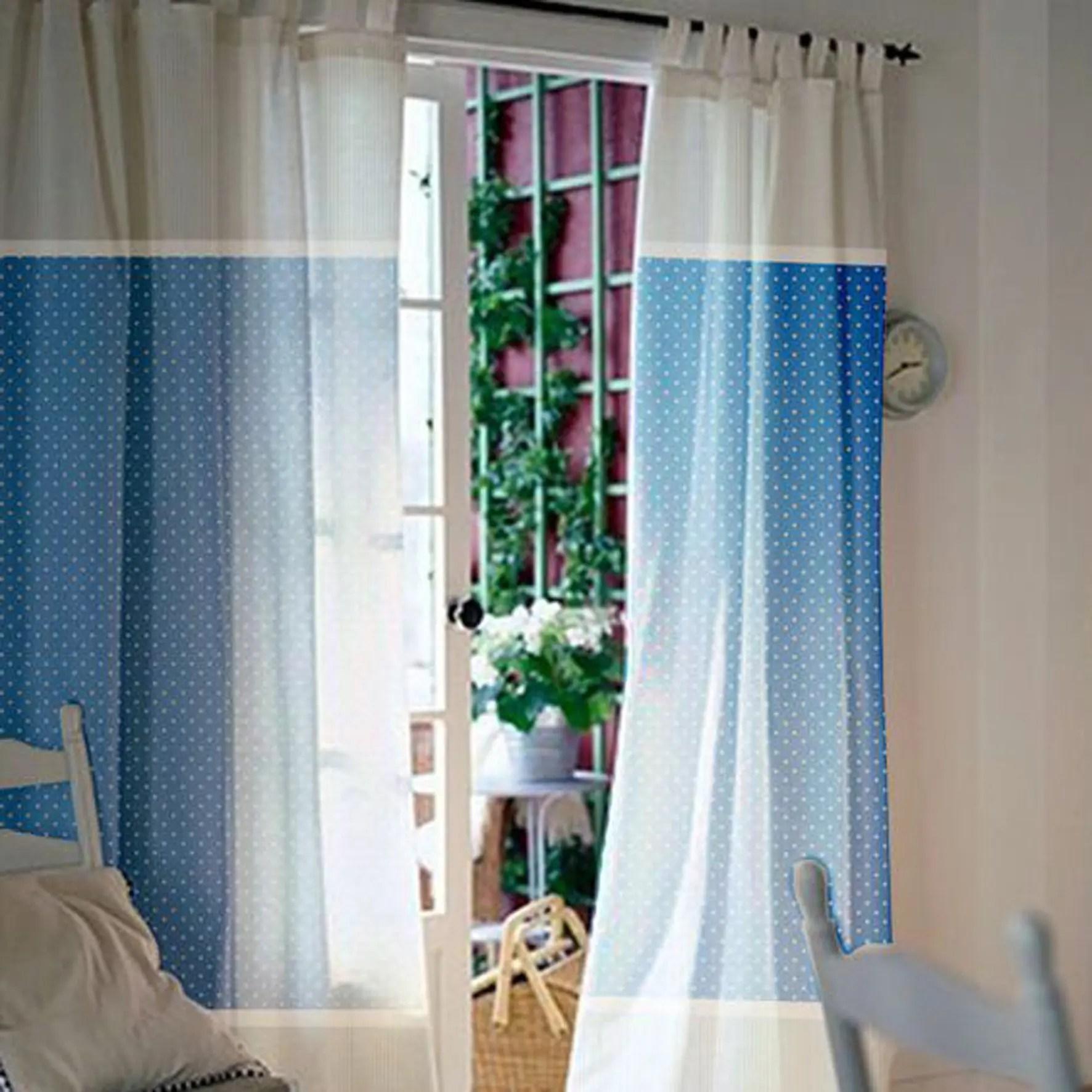 Beige & Blue Tie Top Custom Curtains