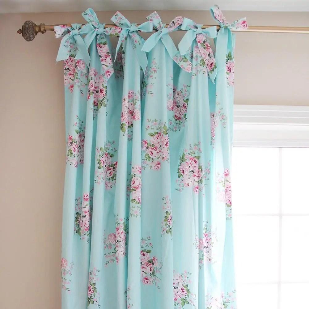 Floral Sheer Tie Top Custom Curtains