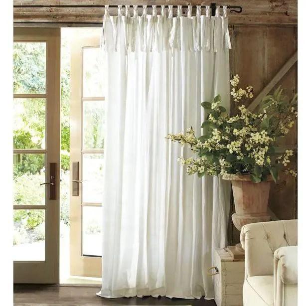 White Tie Top Custom Curtains