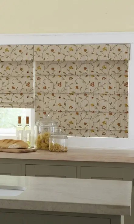 Beige Floral Roman Blinds For Kitchen