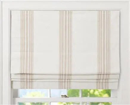 White & Beige Fake Roman Shades