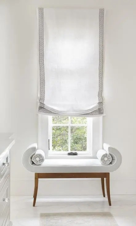 Sheer White European Roman Blind With Ribbon Trim