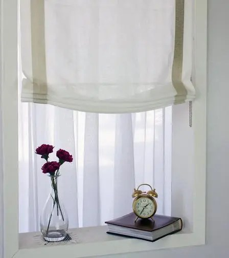 Sheer White European Roman Shade With Beige Ribbon Trim