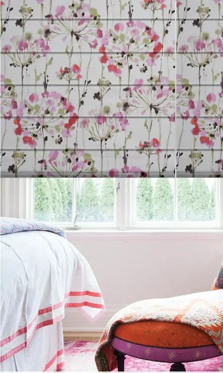 Floral Printed Kids Room Custom Roman Shades