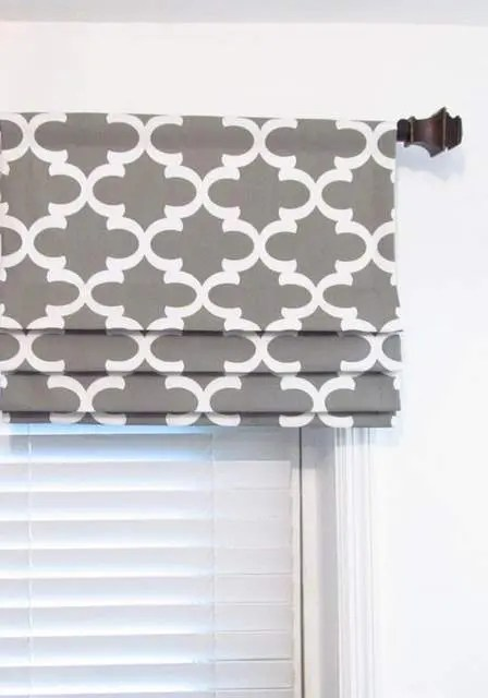 White & Grey Fake Roman Shades