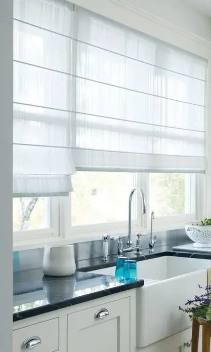 White Sheer Kitchen Custom Roman Shades