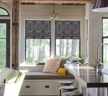 White & Grey Kitchen Roman Shades