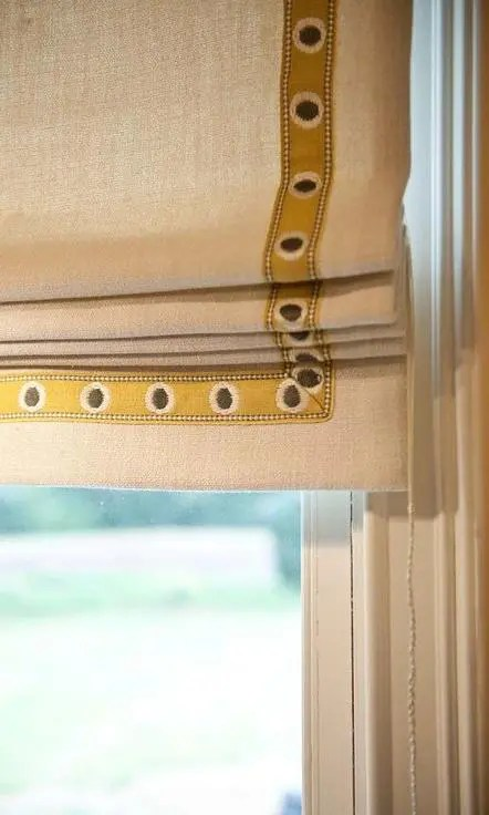 Custom Roman Shades With Ribbon Trim