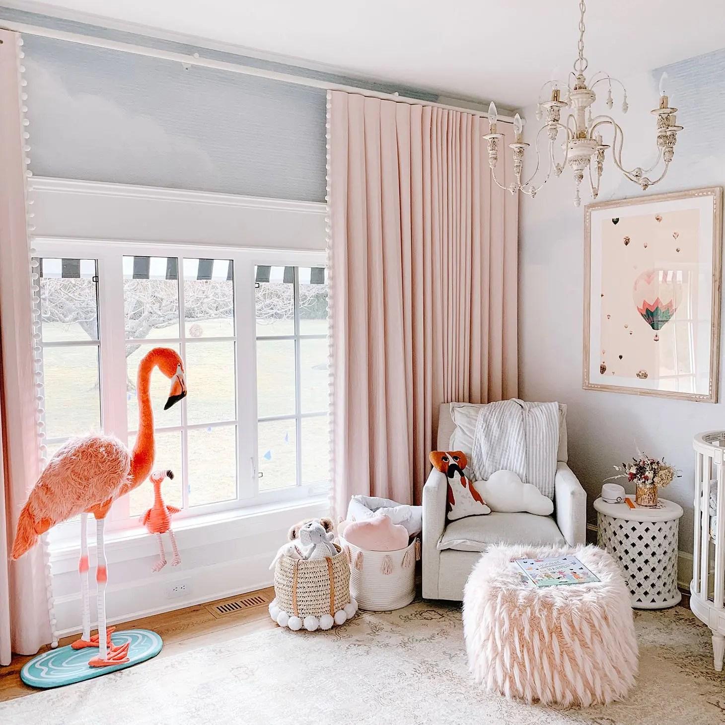 Kids Room Pink Custom Curtains With Pom Pom