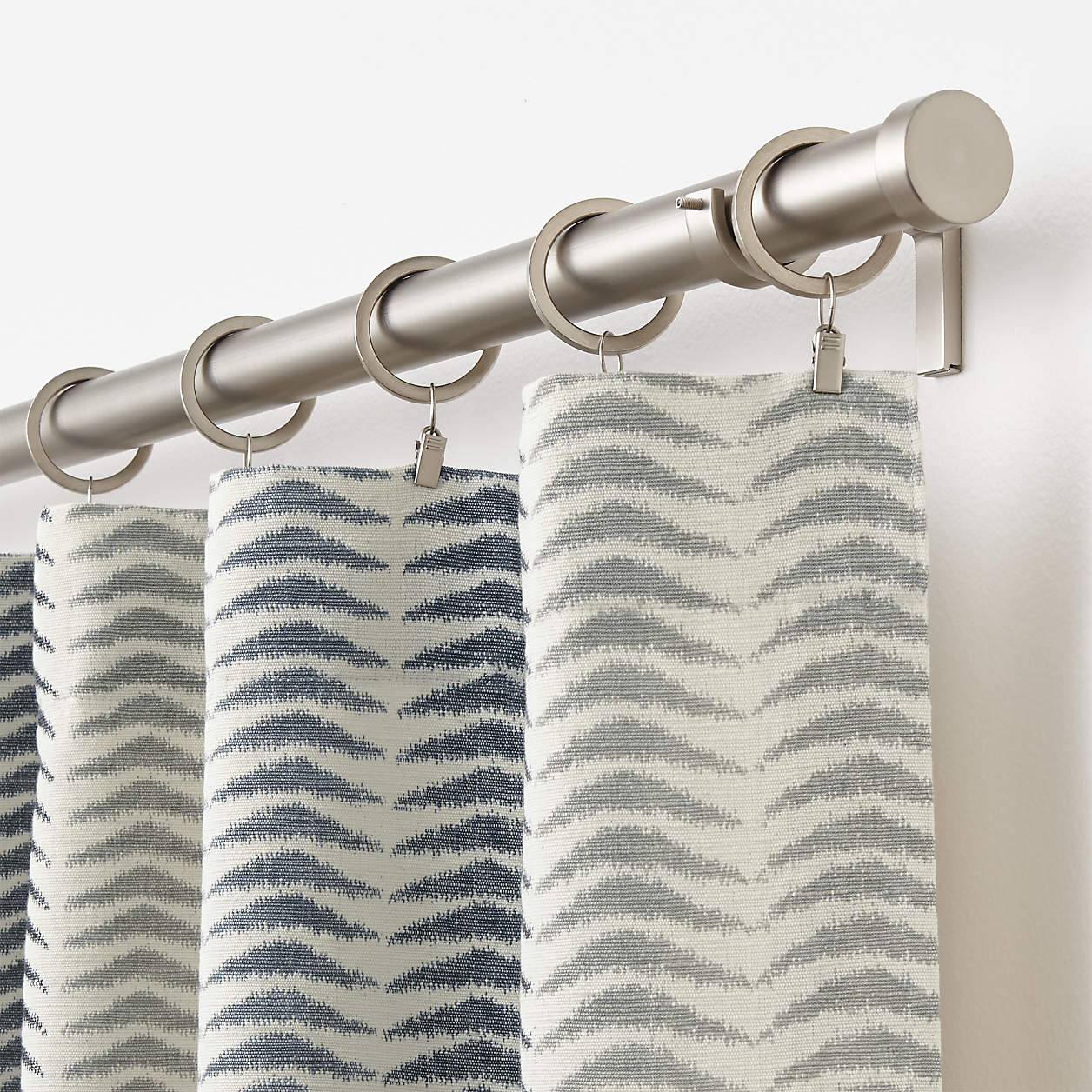 Printed White & Grey Flat Top Curtains