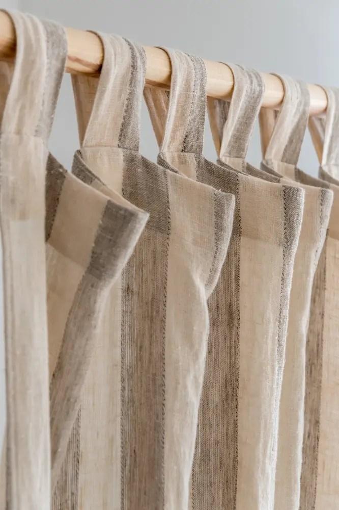 Beige Linen Tab Top Custom Drapes