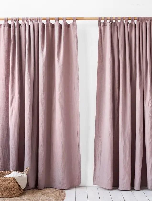 Pink Tab Top Custom Bedroom Curtains