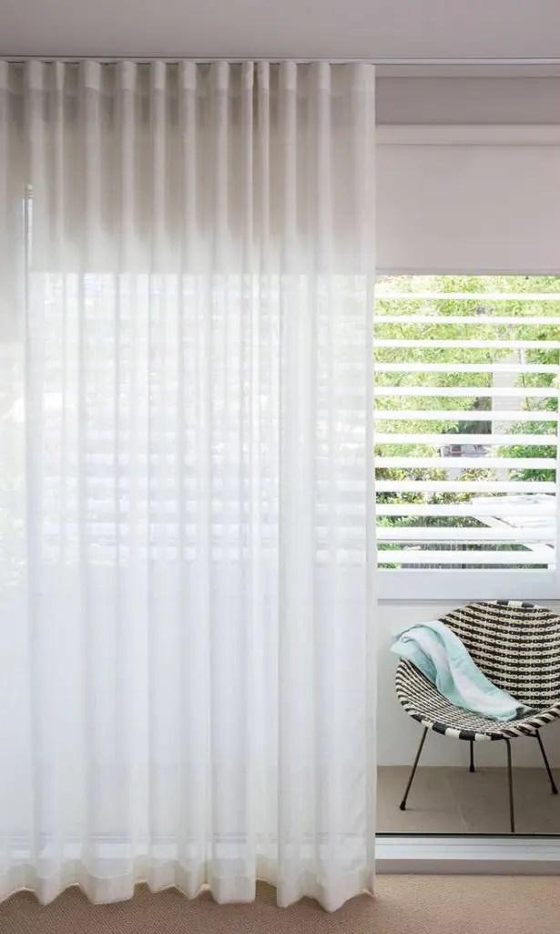 White Sheer Living Room Custom Curtain