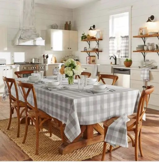 White Check Pattern Table Cover For Dining Room
