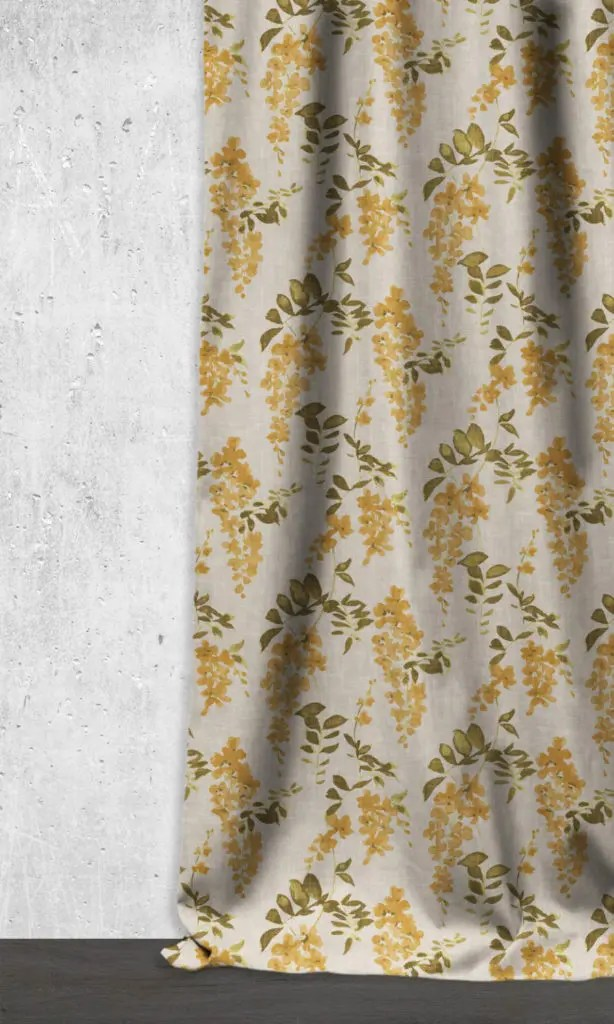 DIMOUT FLORAL CURTAINS/ DRAPES (HONEY YELLOW/ GREY)