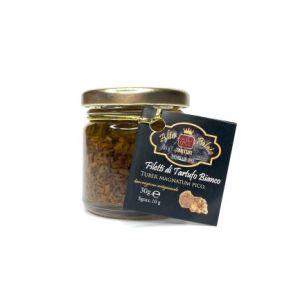 filetti di tartufo bianco con olio extra vergine di oliva in vasetto di vetro